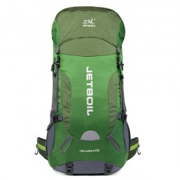 Green Hiking Backpack 55L Patchwork Travel Camping Backpack with Rain Cover