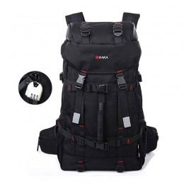Black 55L Hiking & Camping Backpack for Boys Durable Outdoor Waterproof Mountain Climbing Cycling Sport Bag with Lock Included