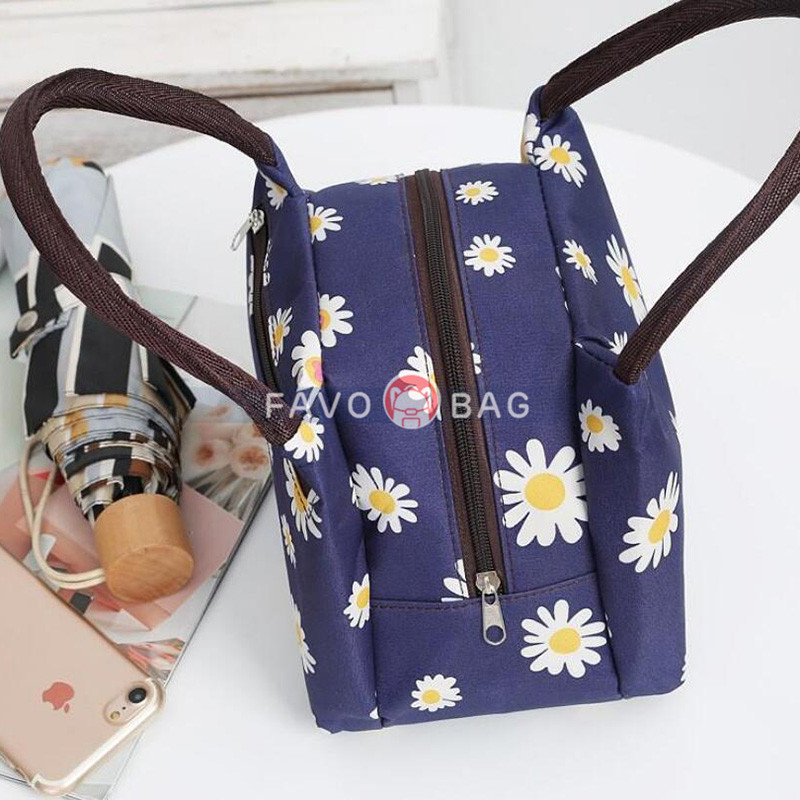 Large Canvas Lunch Bag for School Women Washable Lunch Box Thick Water Resistant Insulated Tote Bag-More Prints Available