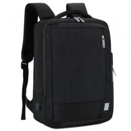 Black Men Anti-Theft Backpack Nylon Waterproof Slim Commute Travel Bag With Charging Port