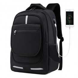 Black Men Usb Nylon Waterproof Business Backpack Back To School Bookbag