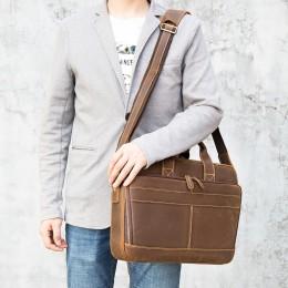 Dark Brown Men'S Genuine Leather Briefcase Messenger Bag