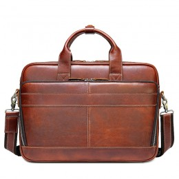 Reddish Brown Men'S Genuine Leather Briefcase Messenger Bag