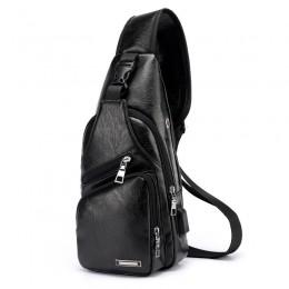 Black Men'S Leather Sling Bag Chest Shoulder Backpack Crossbody Bag