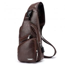 Dark Brown Men'S Leather Sling Bag Chest Shoulder Backpack Crossbody Bag