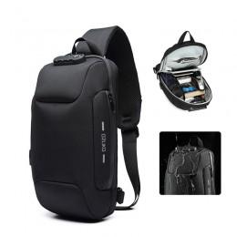 Black Sling Backpack Usb Anti-Theft Men'S Chest Bag Shoulder Bag