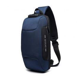Blue Sling Backpack Usb Anti-Theft Men'S Chest Bag Shoulder Bag