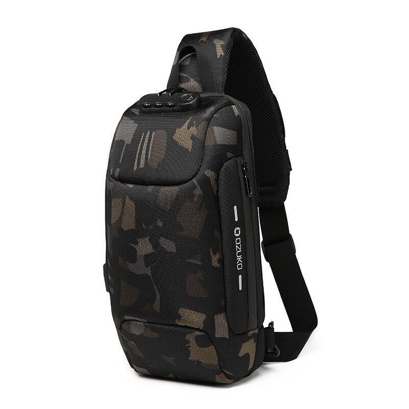 Camouflage Sling Backpack Usb Anti-Theft Men'S Chest Bag Shoulder Bag