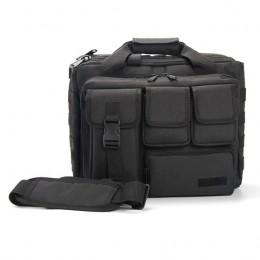 Black Men'S Military Laptop Messenger Bag Multifunction Computer Shoulder Handbags Pilot Bag