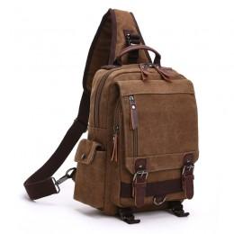 Coffee Canvas Shoulder Backpack Travel Rucksack Sling Bag Messenger Bag