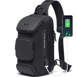 Black Backpack With Usb Charging Port Waterproof Travel Hiking Outdoor Chest Daypack
