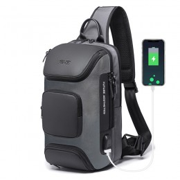 Grey Backpack With Usb Charging Port Waterproof Travel Hiking Outdoor Chest Daypack