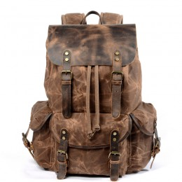 Brown Leather Backpack/Waxed Canvas Shoulder Rucksack For Travel School