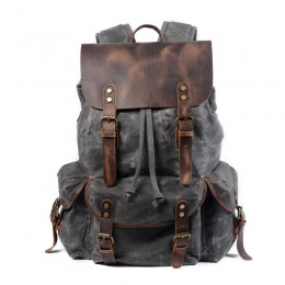 Grey Leather Backpack/Waxed Canvas Shoulder Rucksack For Travel School