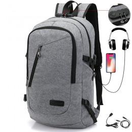 Grey Anti Theft Water Resistant College Student School Bookbag