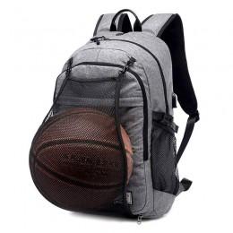 Grey Basketball Laptop Backpack Boy Usb Travel School Bag