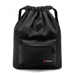 Black Drawstring Backpack Water Resistant String Bag Sports Gym Sack