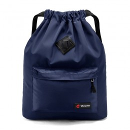 Blue Drawstring Backpack Water Resistant String Bag Sports Gym Sack