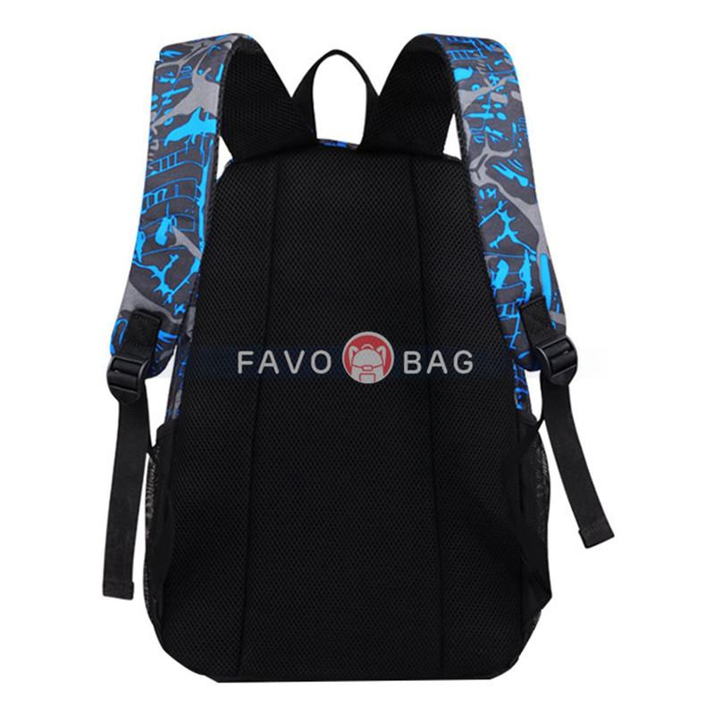 Boy 20L School Bag Backpack with Florescent Mark 3 Sets