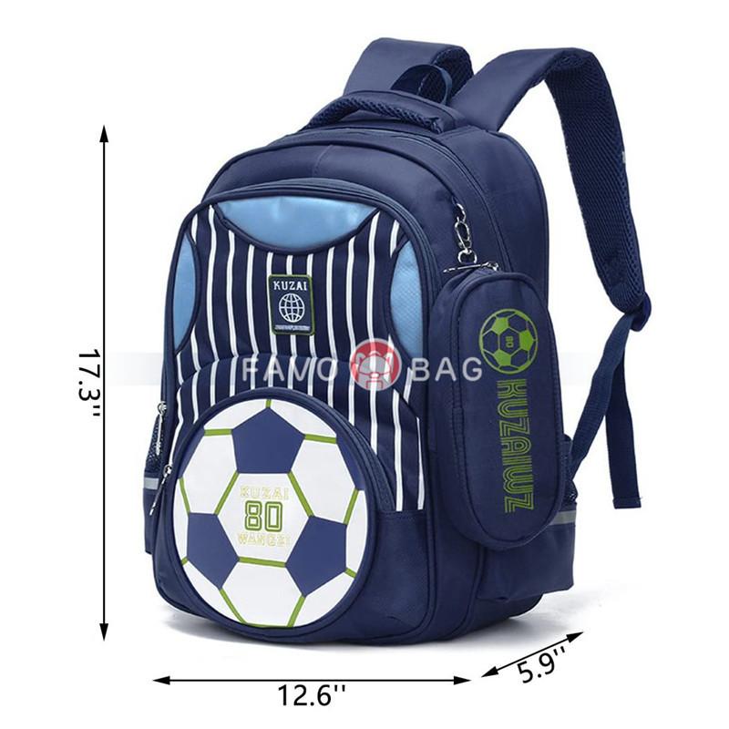 Boys Backpack Soccer Printed Kids School Bookbag for Primary Students Dark Blue