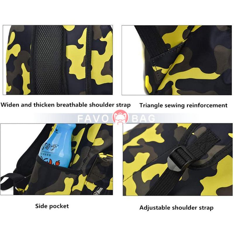 Camouflage Kids School Backpack Primary Schoolbag Bookbag for Girls Boys