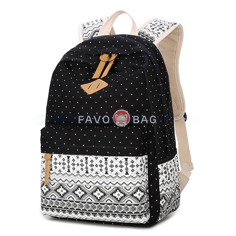 Canvas School Backpack Casual Laptop Bag Shoulder Bag for Teen Girls Boys