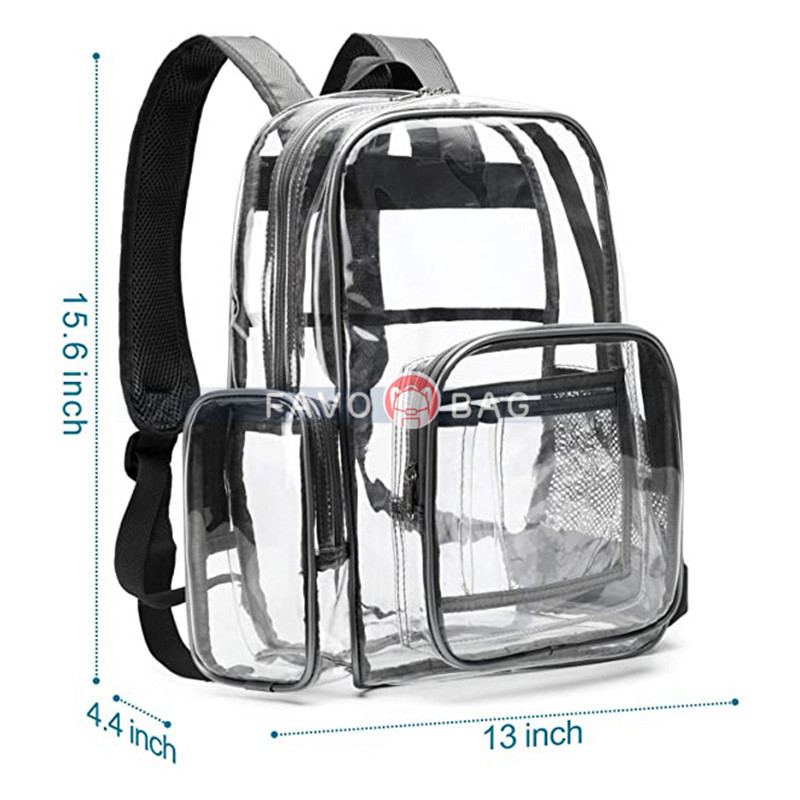 F-color Clear Backpack Heavy Duty Large Waterproof Transparent Backpack Bag