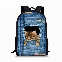Cute Cat Dog Animal Blue School Backpack For Boys Girls School Book Bags