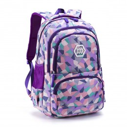 Geometric Prints Primary School Student Satchel Backpack For Girls Boys Schoolbag