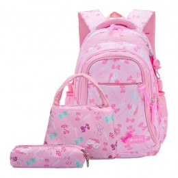 3Pcs Bowknot Cat Prints Elementary Girls School Backpack Set with Lunch Kits