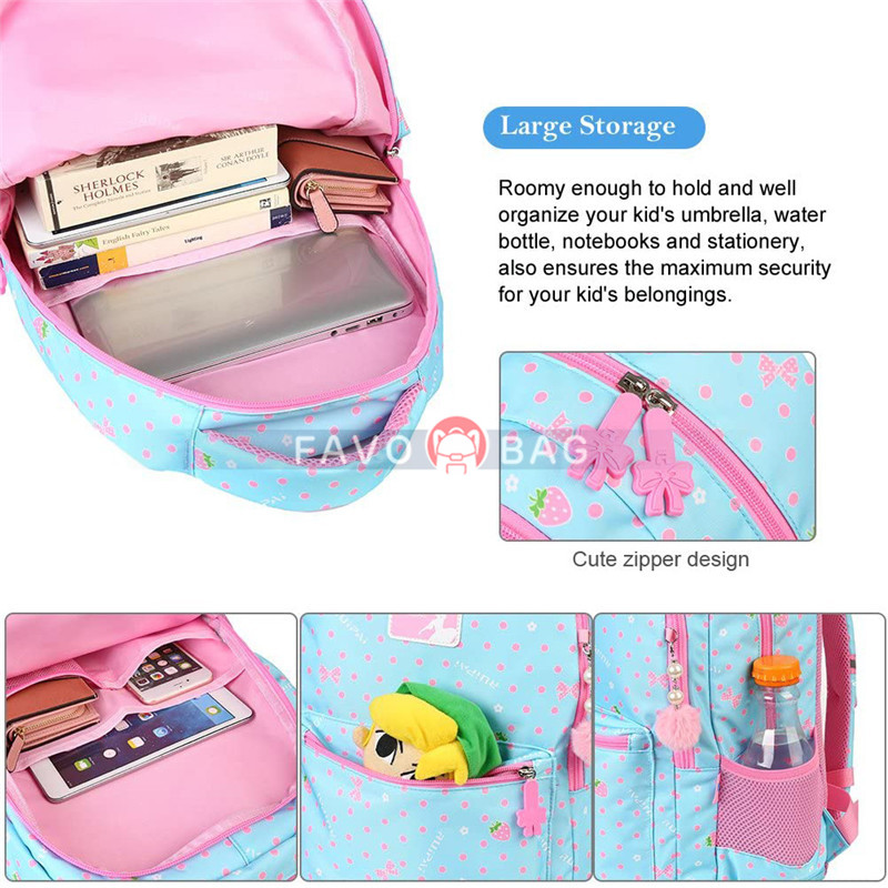 Blue Girls School Backpack Water Resistant Elementary School Bag With Chest Strap