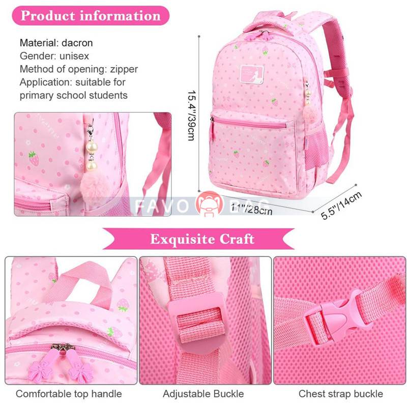 Pink Girls School Backpack Water Resistant Elementary School Bag With Chest Strap