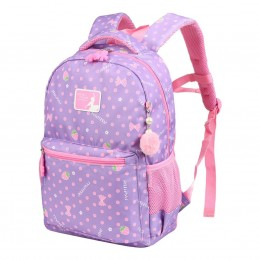 Purple Girls School Backpack Water Resistant Elementary School Bag With Chest Strap