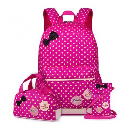 Backpack 3pcs Girls Book Bags Lunch Bags Purse