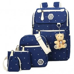 4Pcs Polka Dot Women Canvas Daypack Set With Lunch Bag