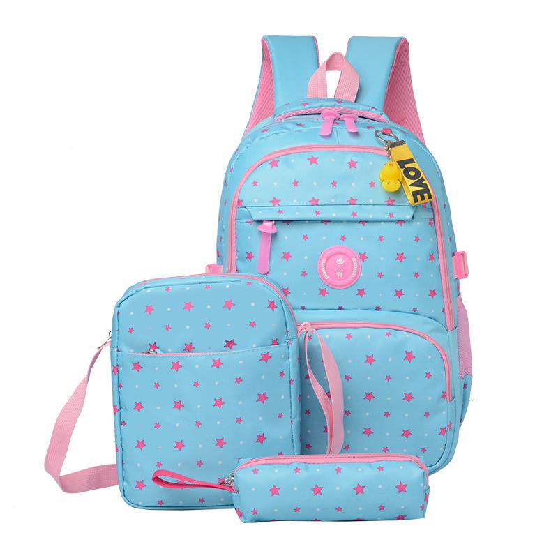 3Pcs Star Prints Waterproof Primary School Backpack Polka Dot Elementary Bookbag