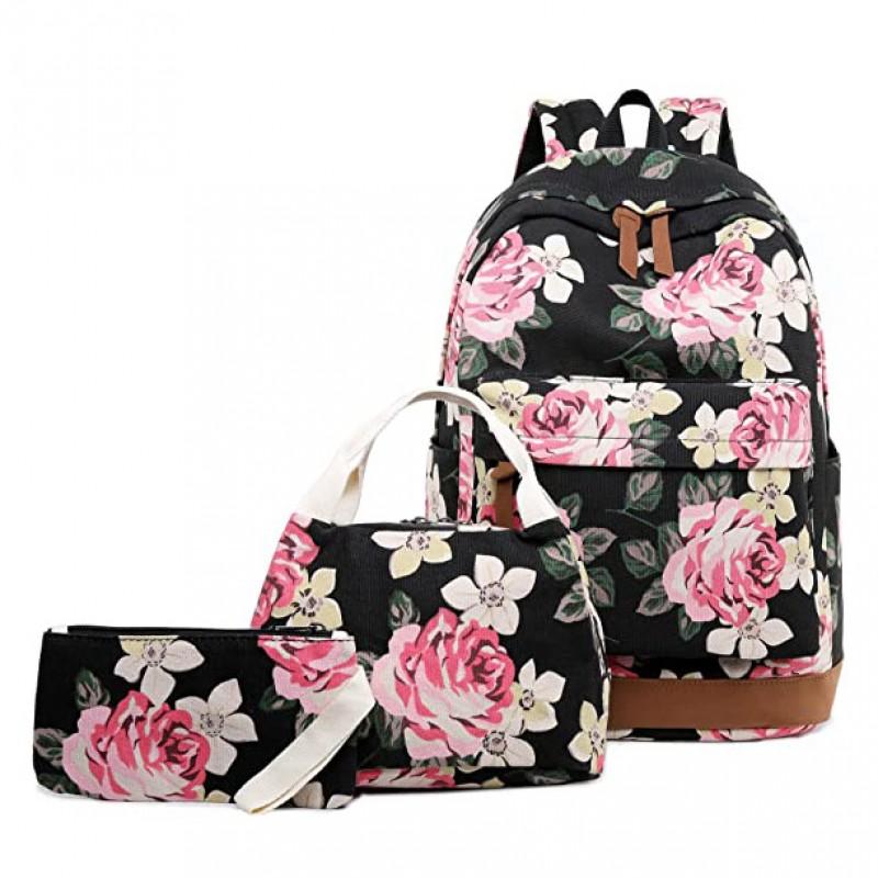 Canvas Floral Backpack Teen Girls Backpacks 3Pcs Set