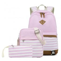 Lightweight Pink Canvas Stripe Backpacks for Girls School Bookbags