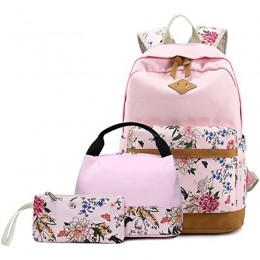 Lightweight Pink Canvas Girls Backbags With Lunch Bag