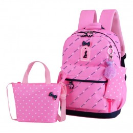 Heart Printing Bowknot Primary Schoolbag Travel Daypack Shoulder Bag Pencil Case