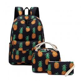 School Backpack Teens Girls Pineapple Black Schoolbag With Lunch Bag