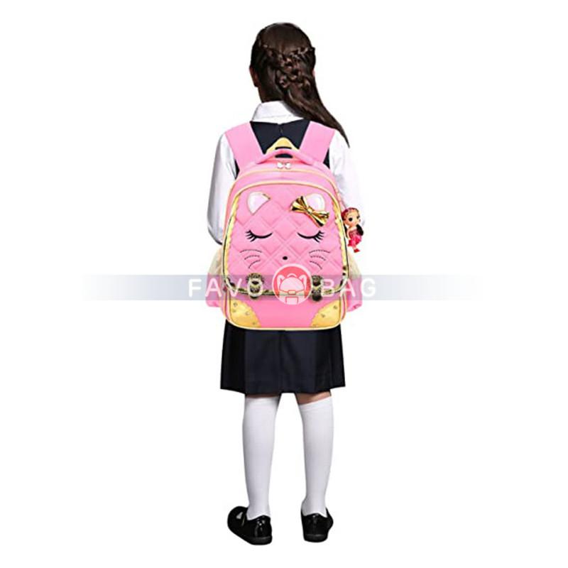 Cat Face Waterproof Girls Backpack Kids School Bookbag For Primary Students