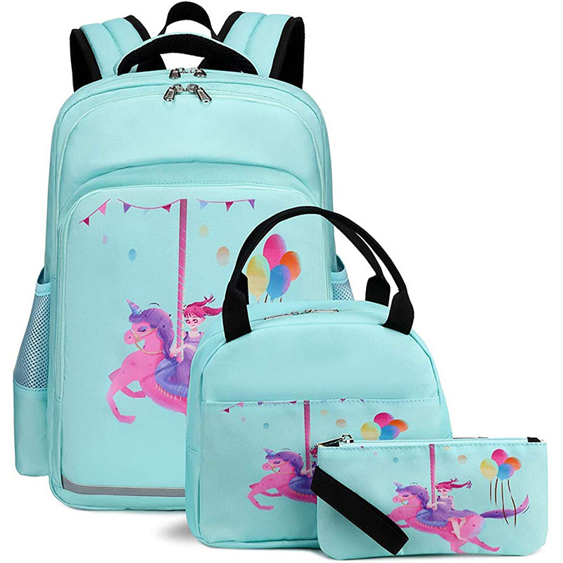 3 Pieces Set Unicorn Backpack With Lunch Tote And Pencil Pouch