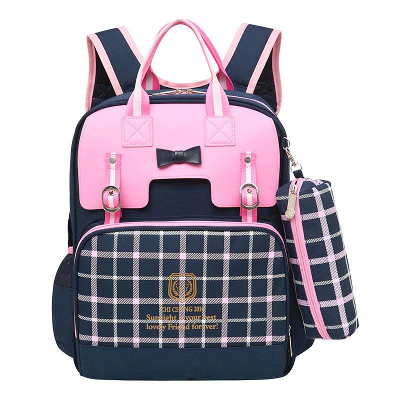 British Style Girls Backpacks Princess Bowknot Kids Bookbags