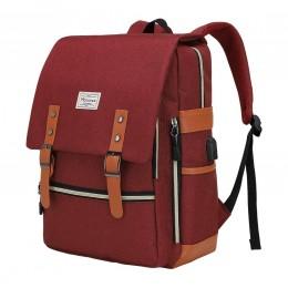 Vintage Laptop Backpack Travel Laptop Backpack With USB Charging Port