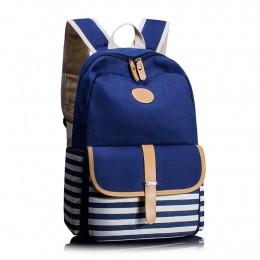 Stripe Canvas Backpack For Girls School Bag Travel Daypack