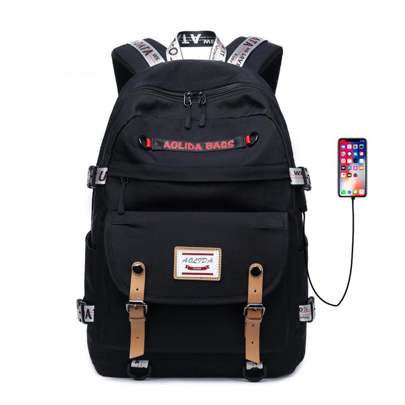 Teenages' Girls & Boys Oxford Waterproof School Backpack with USB Charging Port