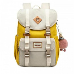 Sweet Canvas Backpack For College Contrast Color Travel Bag for Girls