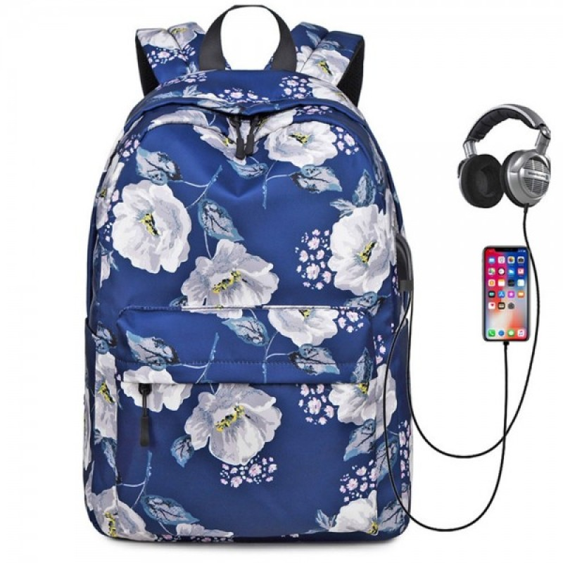 Floral Backpack with USB Charging Port Nylon Durable Outdoor Travel Bag for Girls