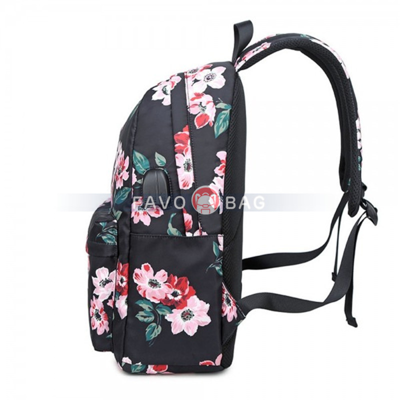 Classical Floral Backpack With USB Charging Port Casual College Travel Bag For Teen Girls